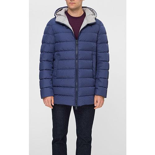 Мужская куртка Herno синего цвета с капюшоном, фото