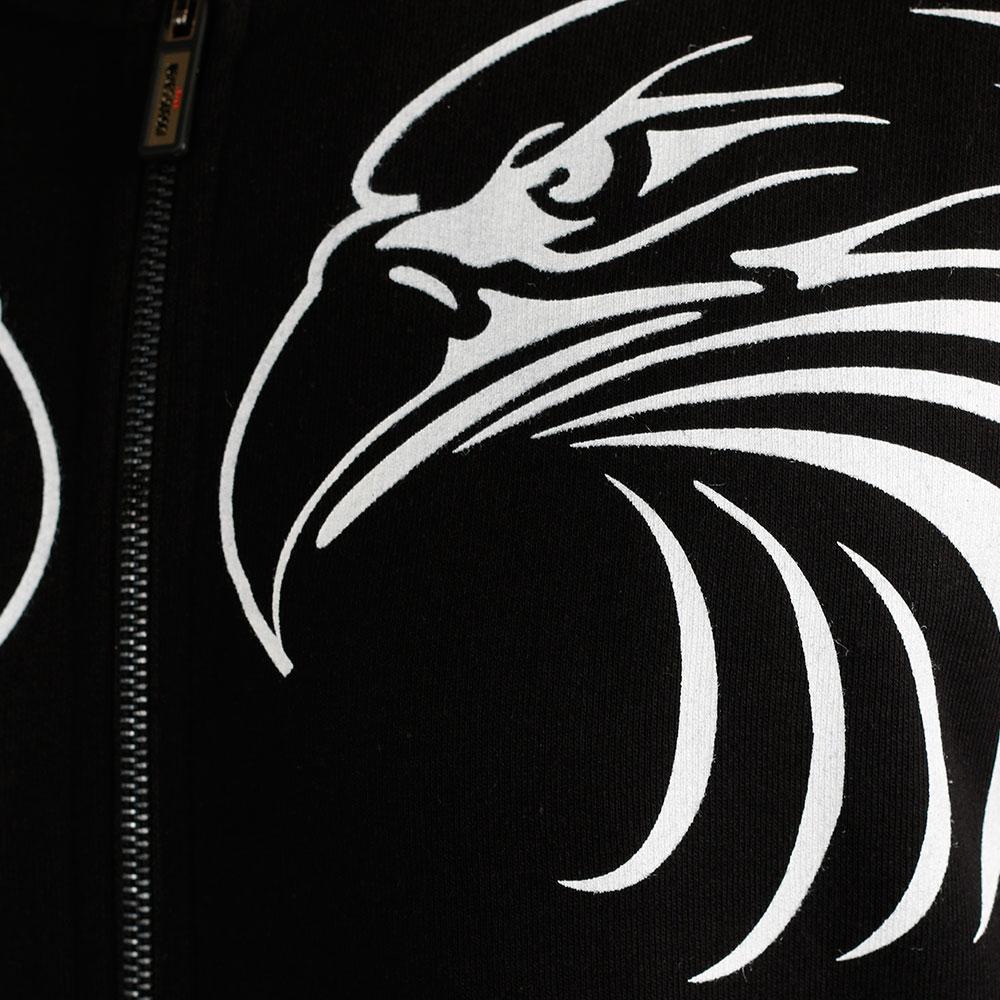 Черный бомбер Roberto Cavalli с принтом-орлами