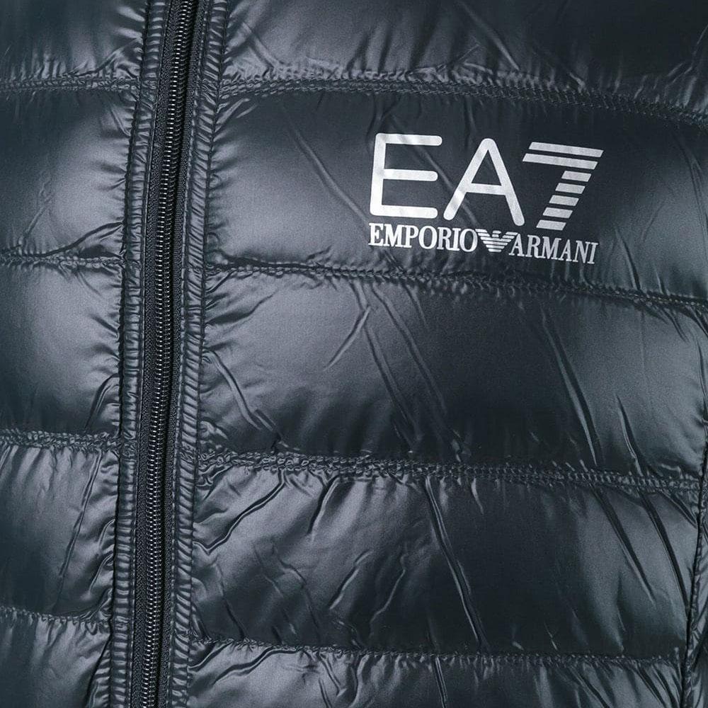 Стеганый пуховик Ea7 Emporio Armani черного цвета