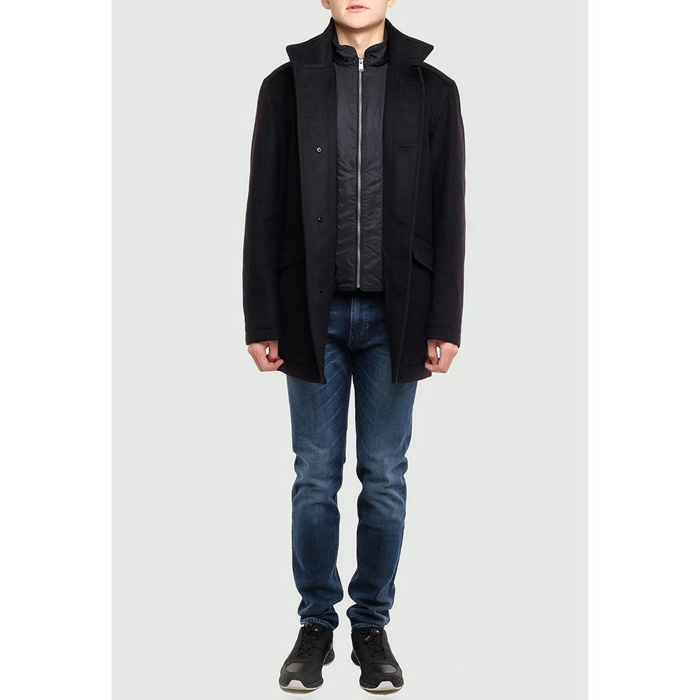 Темно-серое пальто Hugo Boss с внутренним жилетом
