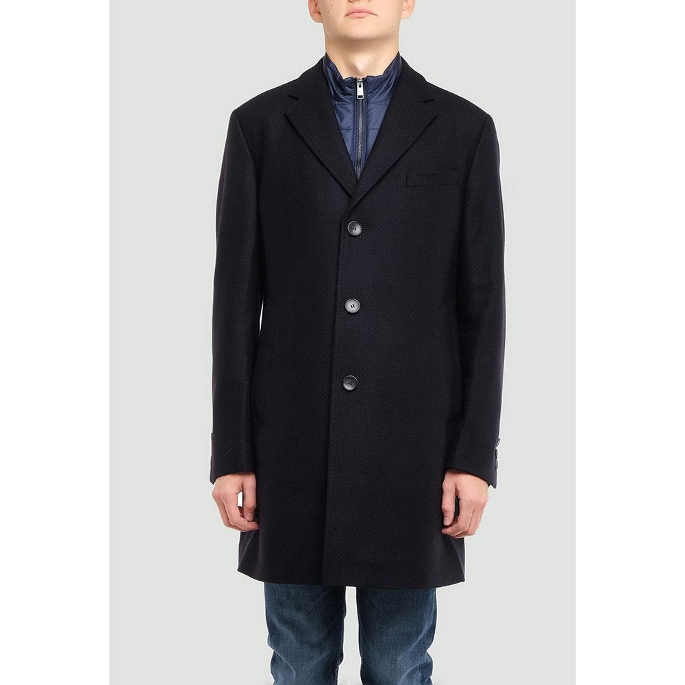 Темно-синее пальто Hugo Boss со съемным нагрудником