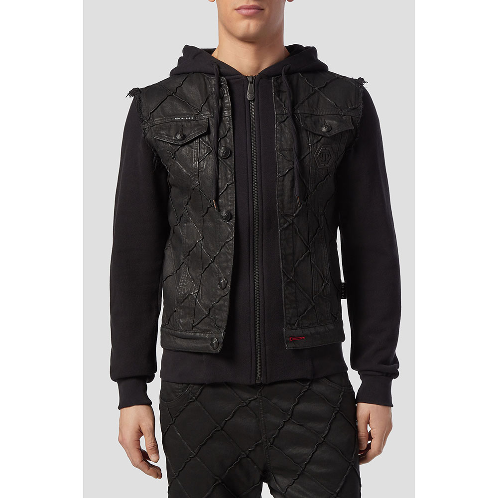 Комбинированная куртка Philipp Plein с капюшоном
