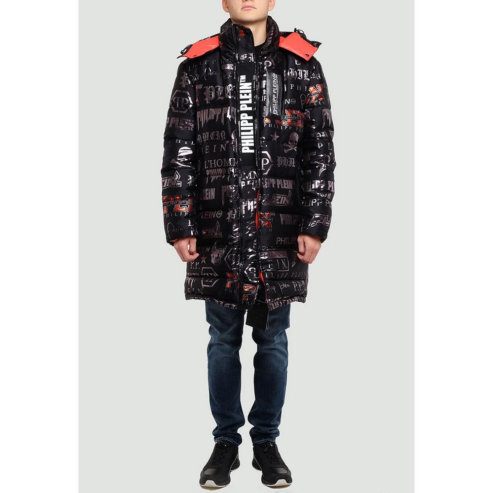 Черная куртка Philipp Plein с брендовым принтом