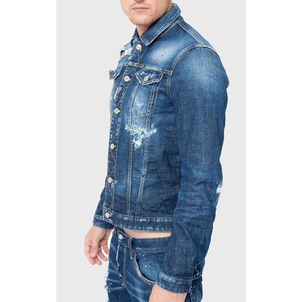 Джинсовая куртка Dsquared2 с эффектом капель краски