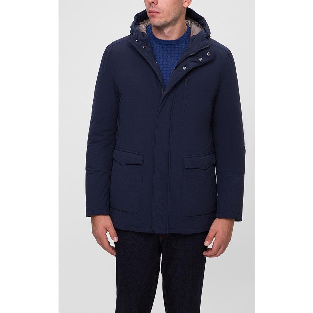 Пальто с капюшоном Herno синего цвета
