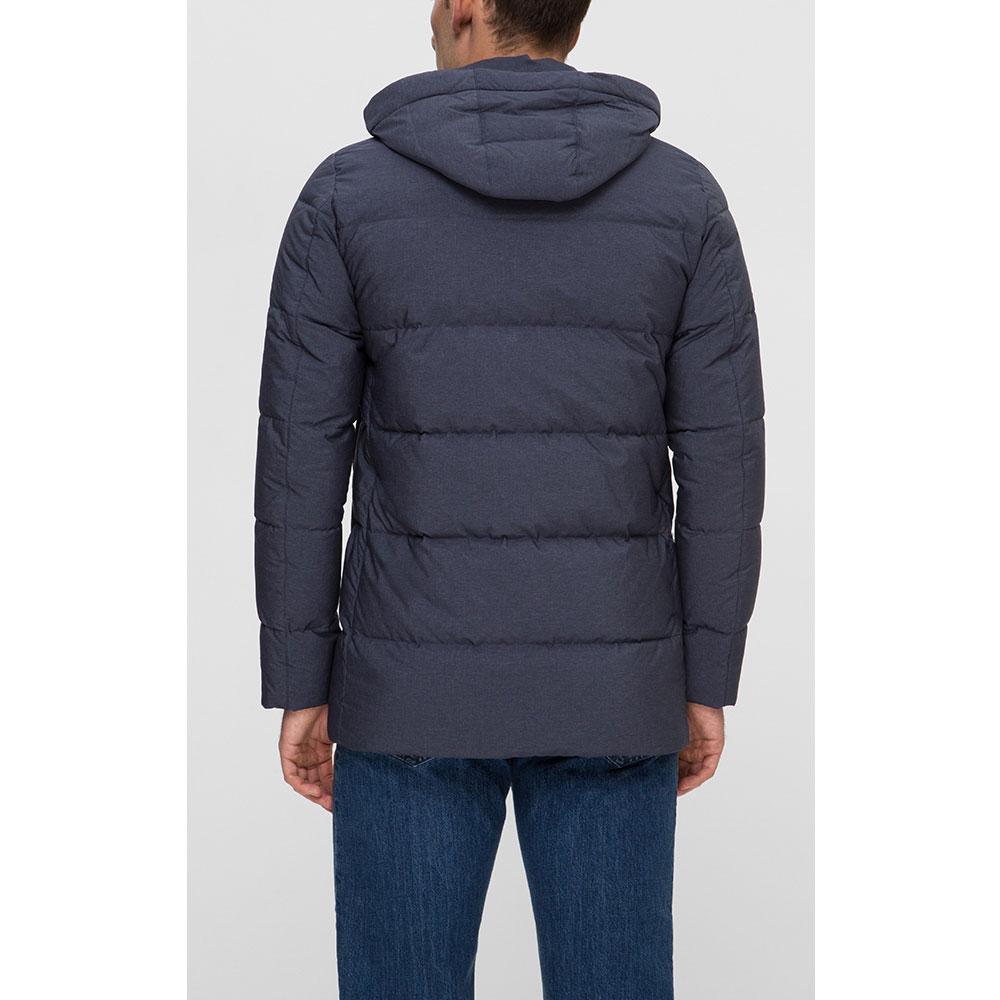 Стеганое пальто Herno синиее с капюшоном