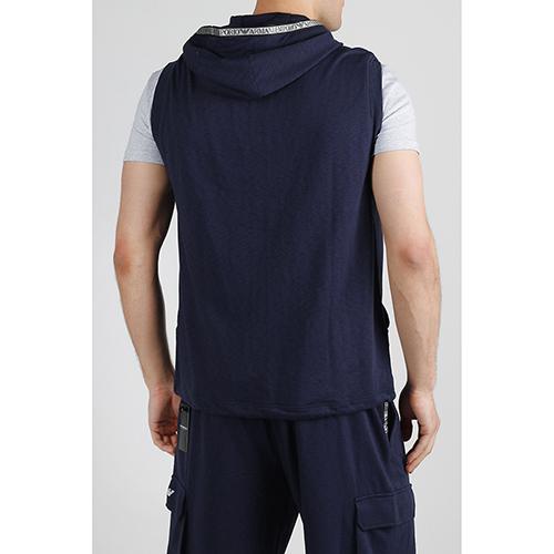 Синий жилет Emporio Armani с капюшоном, фото