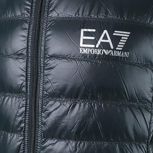 Стеганый пуховик Ea7 Emporio Armani черного цвета, фото