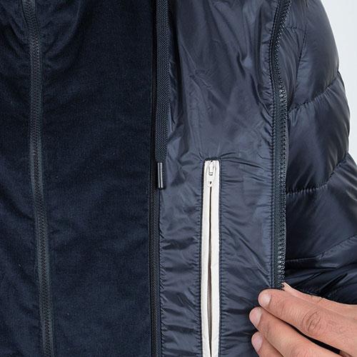 Синий пуховик Herno с вельветовыми вставками, фото