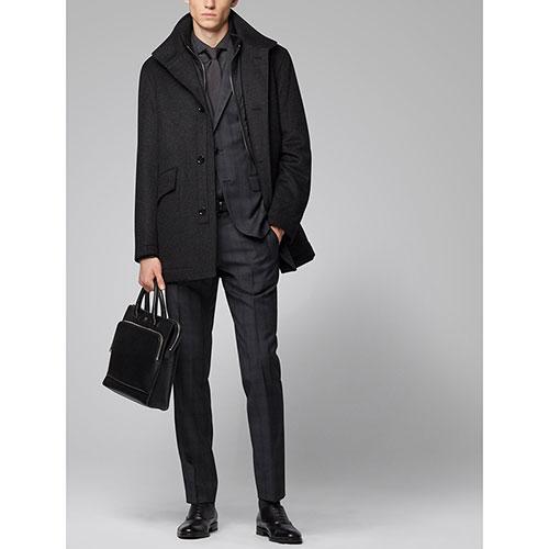 Темно-серое пальто Hugo Boss с внутренним жилетом, фото
