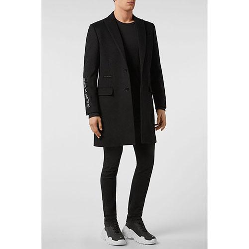 Черное пальто Philipp Plein Anniversary 20th с белой вышивкой, фото