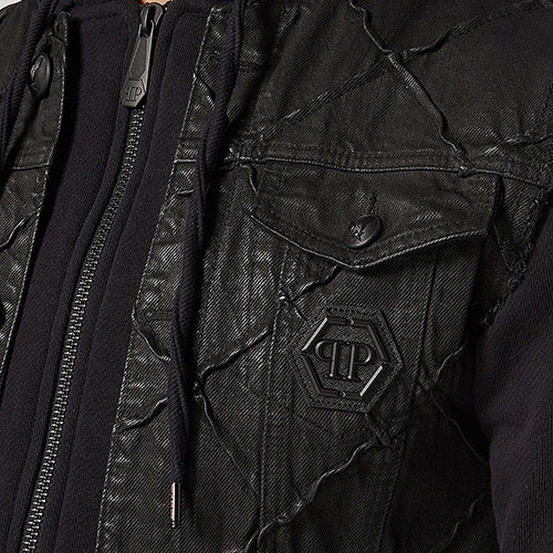 Комбинированная куртка Philipp Plein с капюшоном, фото