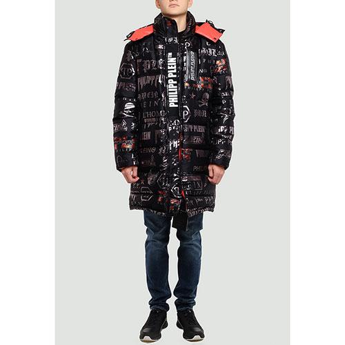 Черная куртка Philipp Plein с брендовым принтом, фото