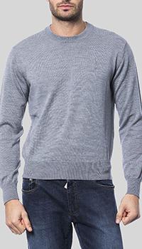 Серый джемпер Billionaire с брендовой вышивкой, фото