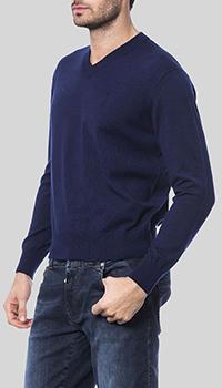 Синий пуловер Billionaire с брендовой вышивкой, фото