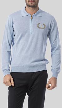 Голубой джемпер Billionaire с вышивкой-лого, фото