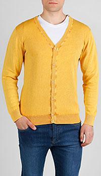 Кардиган на пуговицах Cashmere Company желтого цвета, фото