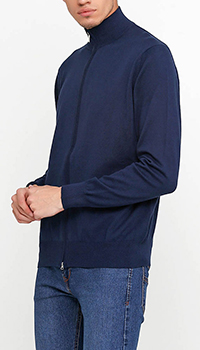 Кофта на молнии Cashmere Company темно-синего цвета, фото