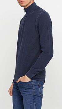 Джемпер темно-синий Cashmere Company с воротником на молнии, фото