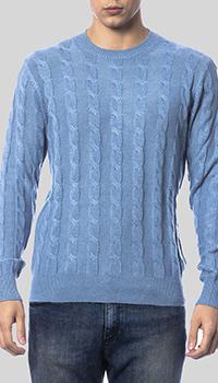 Голубой джемпер Balmain с плетеным узором, фото