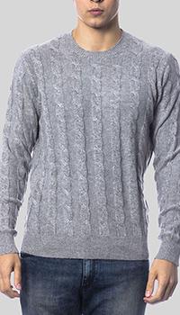 Серый джемпер Balmain с узором-косами, фото