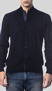 Темно-синяя кофта Balmain с воротником-стойкой, фото