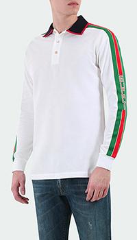 Белый джемпер-поло Gucci с лампасами фирменной расцветки, фото