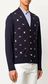 Темно-синий кардиган Gucci с фирменным принтом, фото