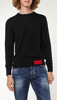 Шерстяной джемпер Versace Jeans Couture черного цвета, фото
