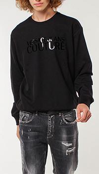 Черный свитшот Versace Jeans Couture с глянцевым принтом, фото