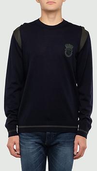 Темно-синий джемпер Billionaire с брендовой вышивкой, фото