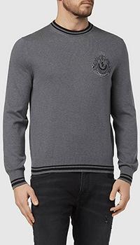 Хлопковый джемпер Billionaire Crest серого цвета, фото