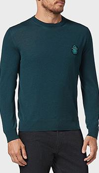 Зеленый джемпер Billionaire с брендовым гербом, фото