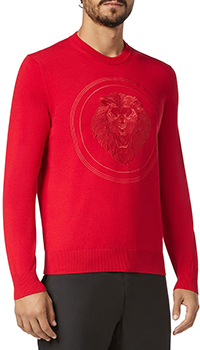 Красный джемпер Billionaire с вышивкой в виде льва, фото