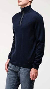 Мужской свитер Bogner синего цвета с молнией, фото