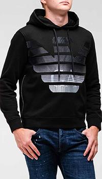 Худи черного цвета Emporio Armani с объемным логотипом, фото