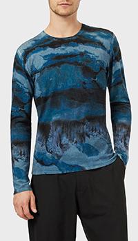 Синий джемпер Emporio Armani с эффектом акварельных мазков, фото