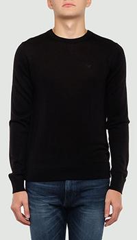 Черный джемпер Emporio Armani с вышивкой на спине, фото