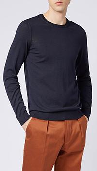 Шерстяной джемпер Hugo Boss темно-синего цвета, фото