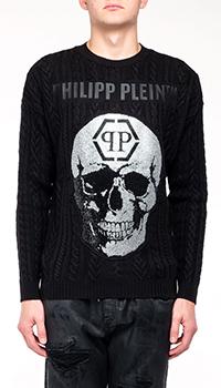 Мужской свитер Philipp Plein с брендовым принтом, фото