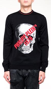 Свитер Philipp Plein черного цвета с брендовой надписью, фото