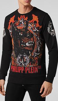 Принтованный свитшот Philipp Plein черного цвета, фото