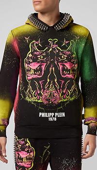 Черная толстовка Philipp Plein с декором-шипами, фото