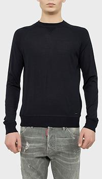 Пуловер Dsquared2 шерстяной темно-синего цвета, фото