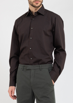 Коричневая рубашка Belmonte Oro в черную полоску, фото