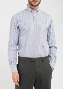 Голубая рубашка Belmonte Oro в коричневую полоску, фото