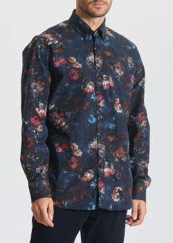 Синяя рубашка Paul&Shark с цветочным принтом, фото