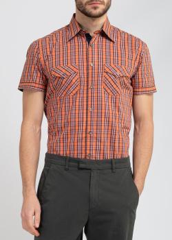 Оранжевая рубашка с коротким рукавом Belmonte Trend в клетку, фото