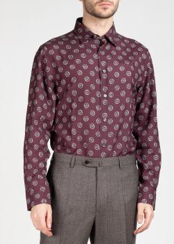 Бордовая рубашка Brioni с принтом, фото