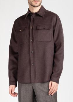 Мужская рубашка Brioni из шерсти коричневого цвета, фото